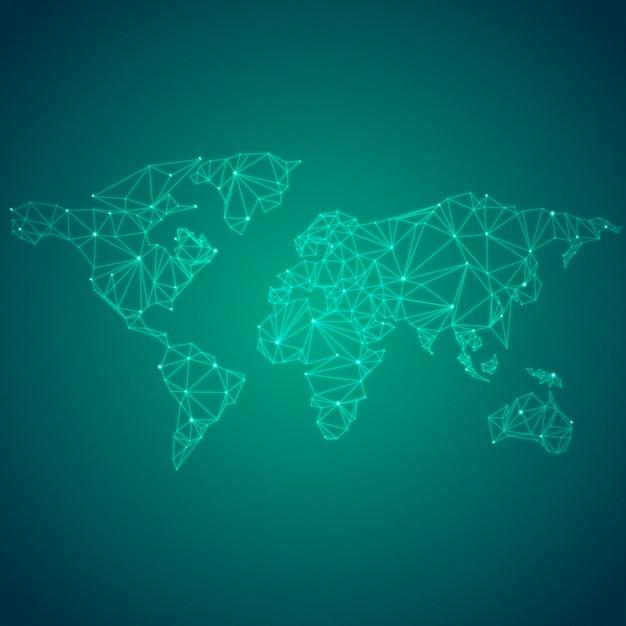 Vecteur de connexion mondiale fond vert illustration Vecteur gratuit