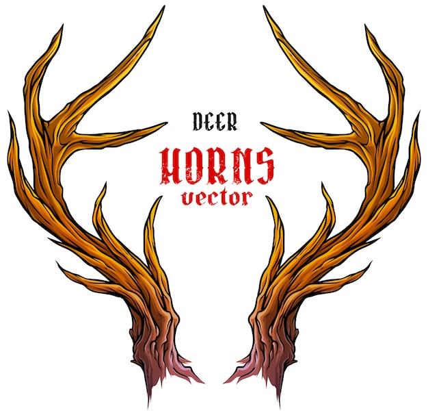 Vecteur de cornes ou bois de grands cerfs Vecteur Premium