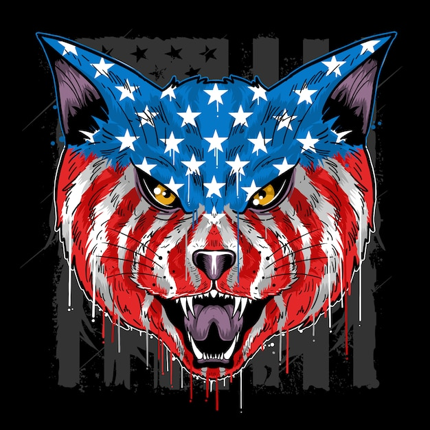 Vecteur de couleur de drapeau cat beast head america Vecteur Premium