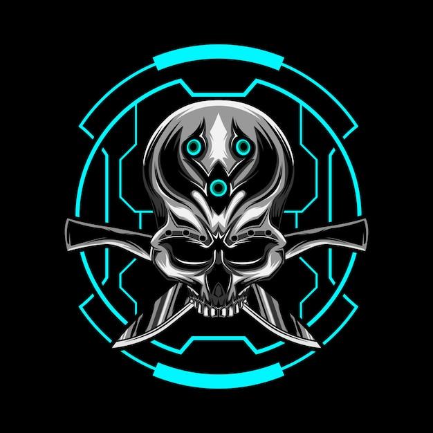 Vecteur de crâne de machette Vecteur Premium