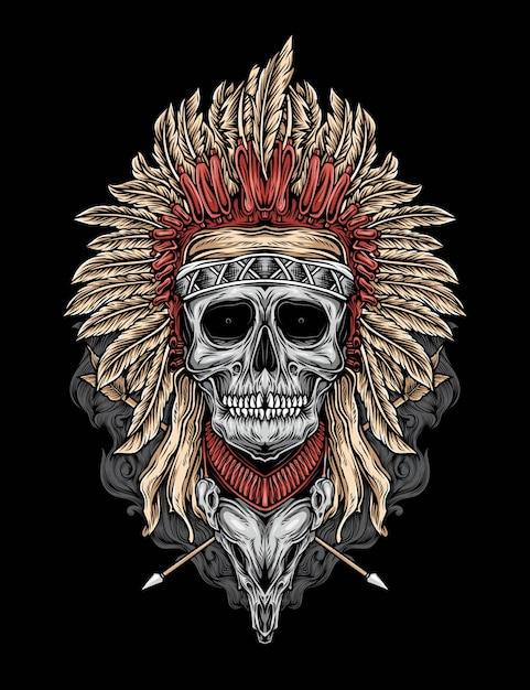 Vecteur de crâne natif Vecteur Premium