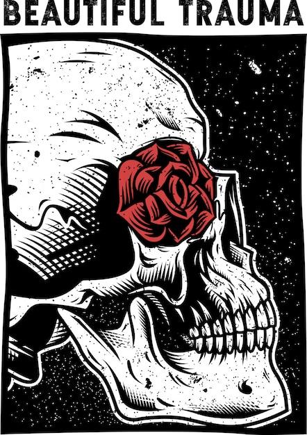 Vecteur de crâne et rose Vecteur Premium