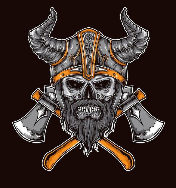 Vecteur de crâne de viking Vecteur Premium