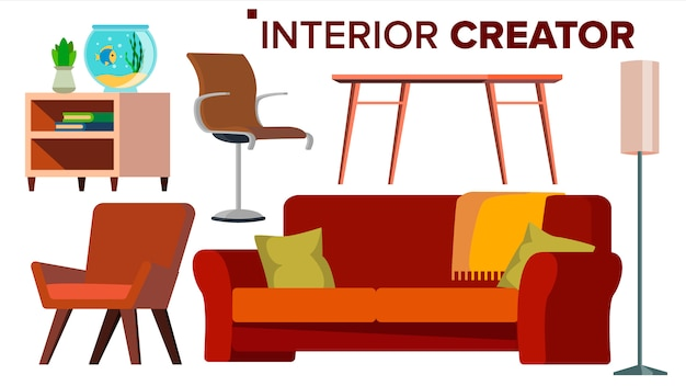 Vecteur de créateur de meubles. Vecteur Premium