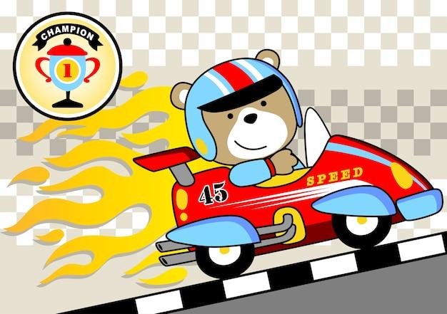 vecteur de dessin anim gagnant voiture de course vecteur premium - Voiture De Course Dessin Anim