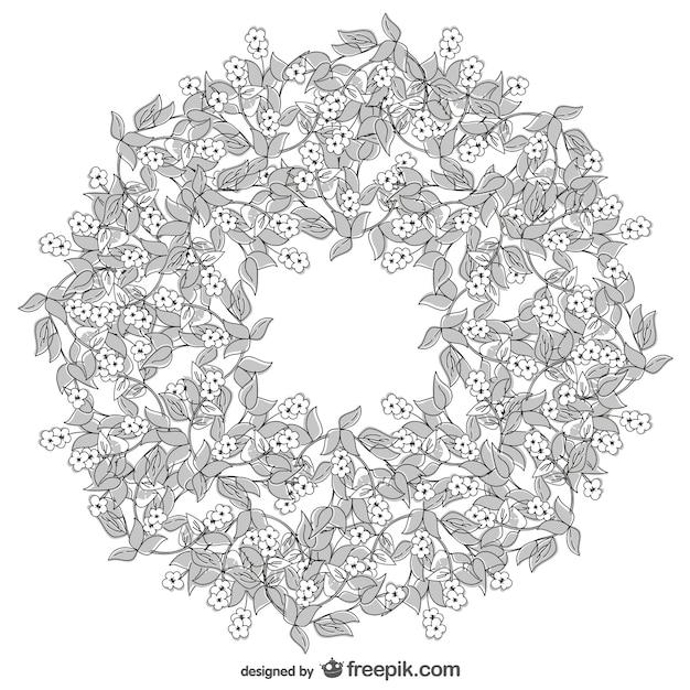 vecteur de dessin de couronne de fleurs vecteur gratuit