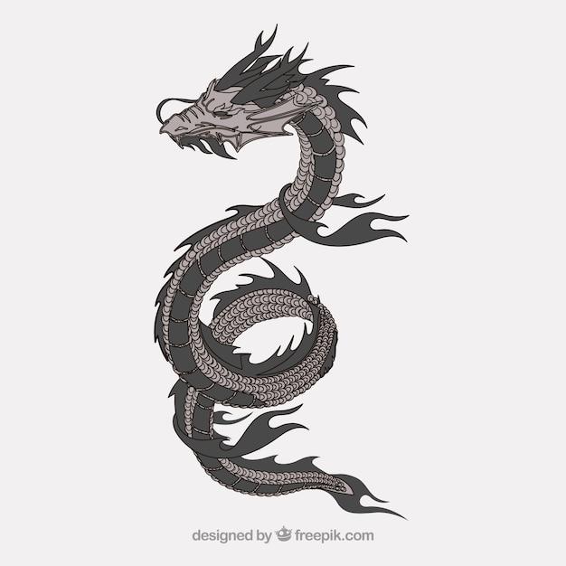 vecteur de la flamme horrible dragon japonais t l charger des vecteurs gratuitement. Black Bedroom Furniture Sets. Home Design Ideas
