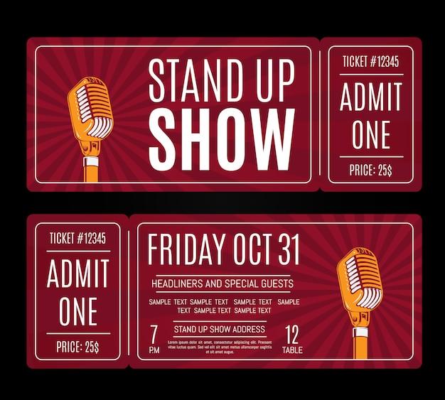 Vecteur debout billets de spectacle avec microphone rétro sur fond sunburst. humour divertissement et performer illustration Vecteur Premium