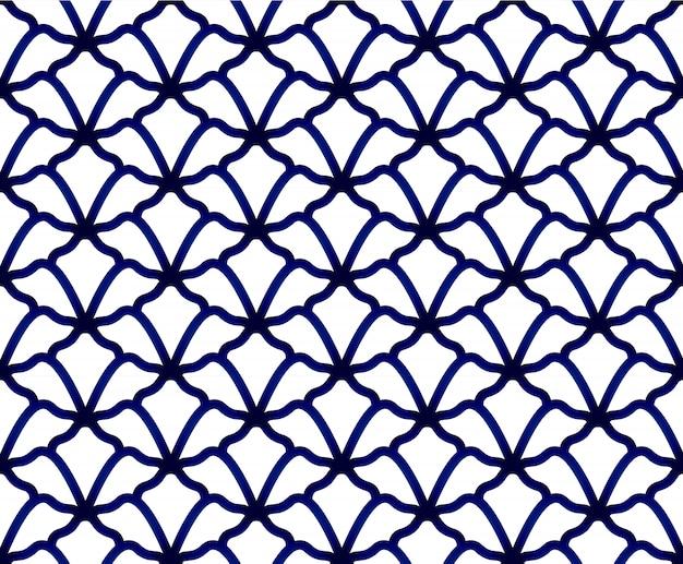 Vecteur de décor art simple porcelaine transparente bleu et blanc indigo, bleu chinois, motif en céramique Vecteur Premium