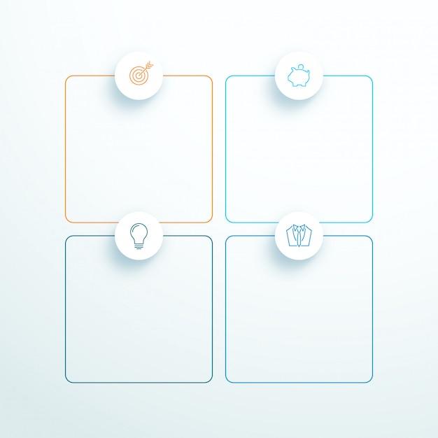 Vecteur décrit 3d carré texte boîtes avec des icônes modernes Vecteur Premium
