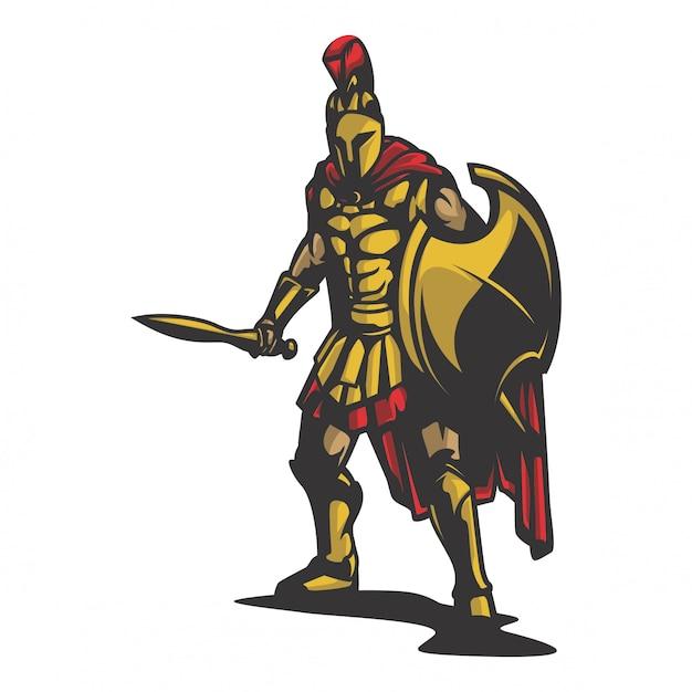 Vecteur de défense du roi sparta Vecteur Premium
