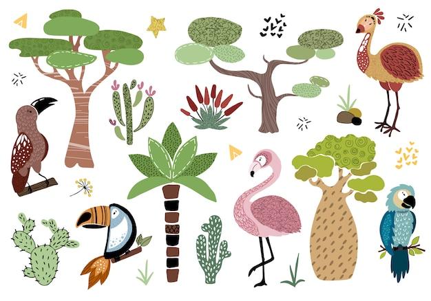 Vecteur défini arbres africains Vecteur Premium