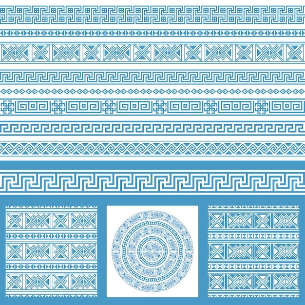 Vecteur défini des collections d'éléments de conception ethnique grèce. modèles et bordures sans couture ornementales bleus et blancs dans un méga paquet. Vecteur Premium