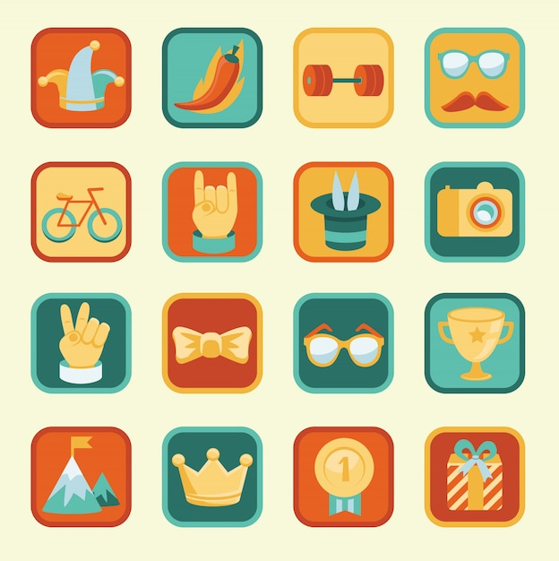 Vecteur défini avec des icônes de réalisation et de récompenses Vecteur Premium