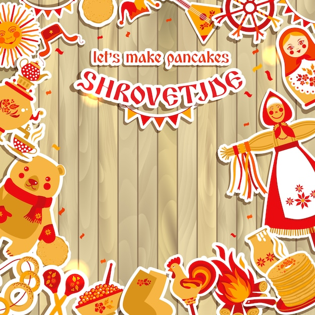 Vecteur défini sur le thème du carnaval de vacances en russie. Vecteur Premium