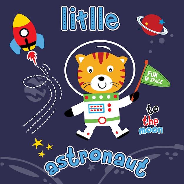 Vecteur De Dessin Animé Animal Astronaute Vecteur Premium