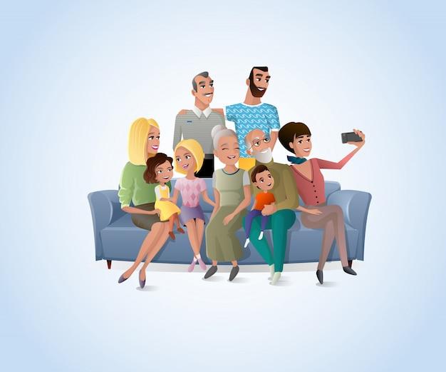 Vecteur de dessin animé big happy family selfie photo Vecteur Premium