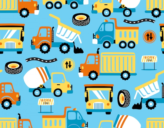 Vecteur de dessin animé de camions avec panneaux de signalisation Vecteur Premium