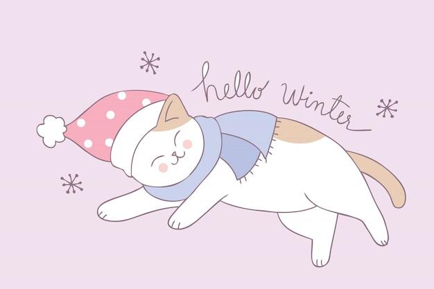 Vecteur de dessin animé chat hiver mignon dormir. Vecteur Premium