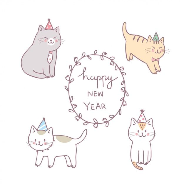 Vecteur de dessin animé chat mignon bonne année. Vecteur Premium