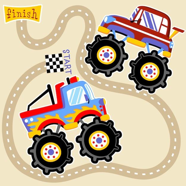 Vecteur De Dessin Animé Course De Monster Truck Télécharger Des