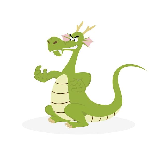 Vecteur de dessin animé de dragon vert isolé sur fond blanc. Vecteur Premium