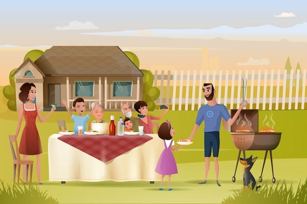 Vecteur de dessin animé grand dîner en famille ou pique-nique Vecteur Premium