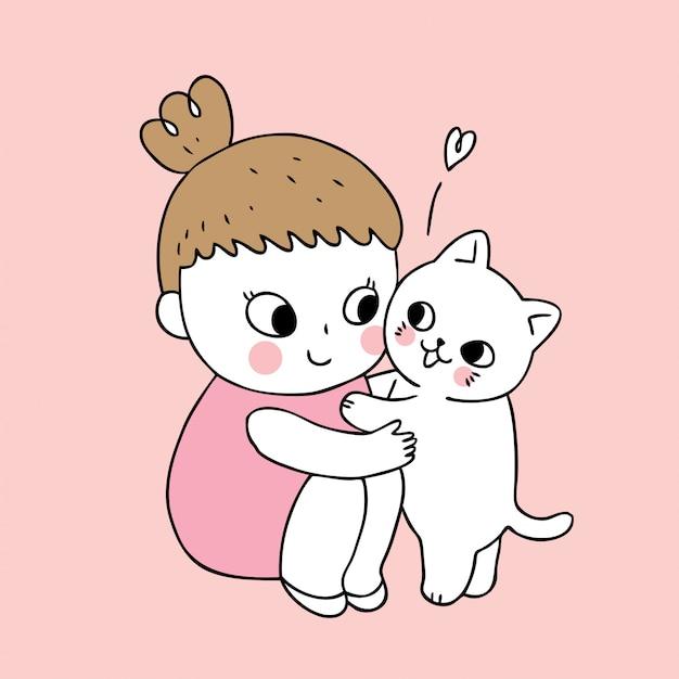 Vecteur de dessin animé jolie fille et chat. Vecteur Premium