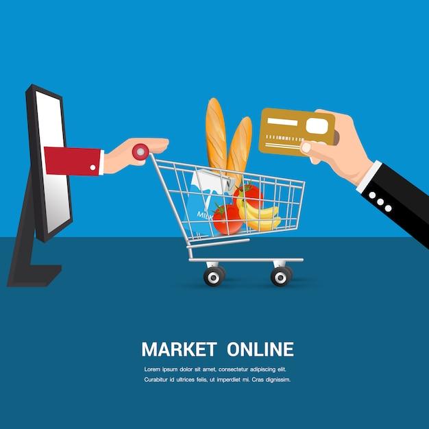 Vecteur de dessin animé en ligne de marché. Vecteur Premium