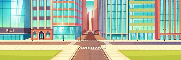 Vecteur de dessin animé metropolis empty street carrefour Vecteur gratuit