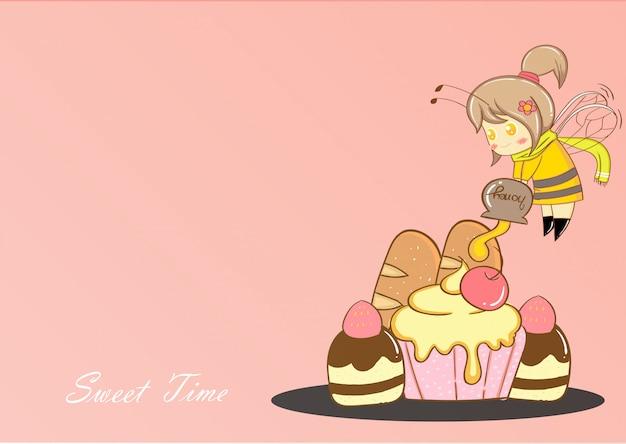 Vecteur de dessin animé mignon abeille et dessert. Vecteur Premium