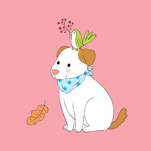 Joyeux anniversaire Kaya Vecteur-dessin-anime-mignon-chien-oiseau-automne_39961-456