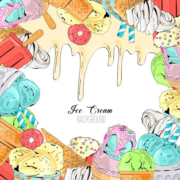Vecteur de dessin animé mignon coloré fond dessiné fond de crème glacée. Vecteur Premium