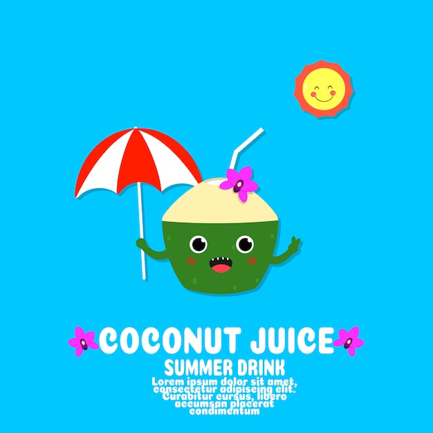 Vecteur de dessin animé mignon de jus de coco. concept alimentaire kawaii. Vecteur Premium