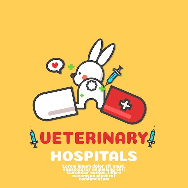 Vecteur de dessin animé mignon lapin. logo hôpital vétérinaire. Vecteur Premium