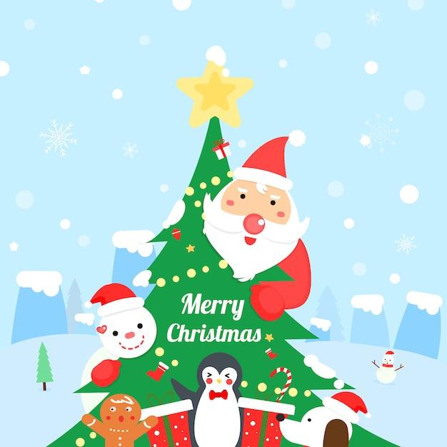 Vecteur De Dessin Animé Mignon Santa Claus Et Un Ami. Carte De Noël Merry. Vecteur Premium
