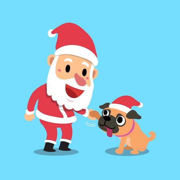 Vecteur de dessin animé noël père noël avec chien carlin Vecteur Premium