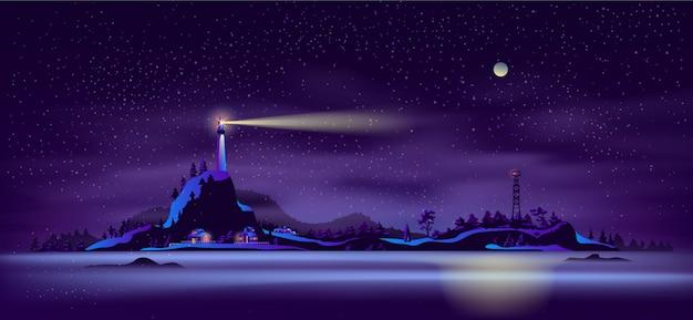 Vecteur de dessin animé de paysage de nuit du nord de la mer Vecteur gratuit