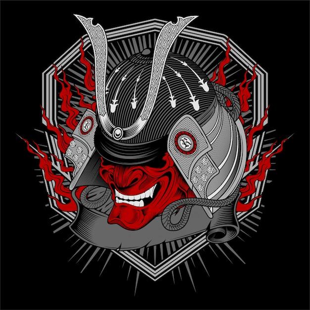 Vecteur de dessin crâne samouraï main Vecteur Premium