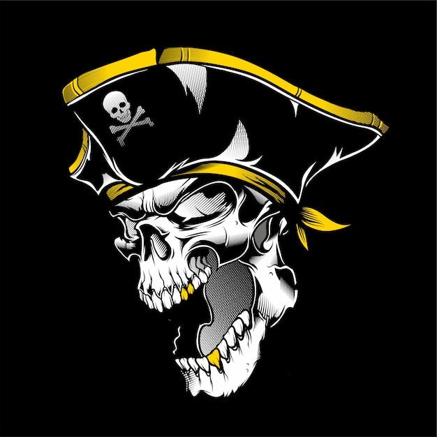 Vecteur de dessin main crâne pirate Vecteur Premium
