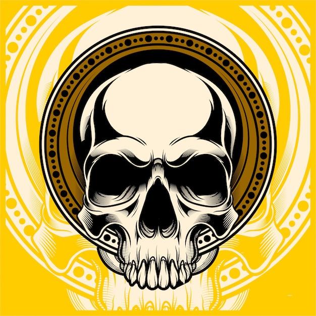 Vecteur de dessin main crâne Vecteur Premium