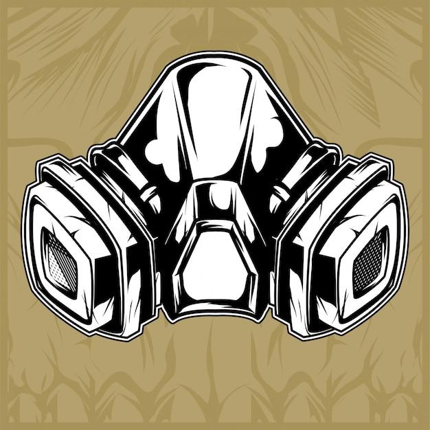 Vecteur de dessin main masque à gaz Vecteur Premium