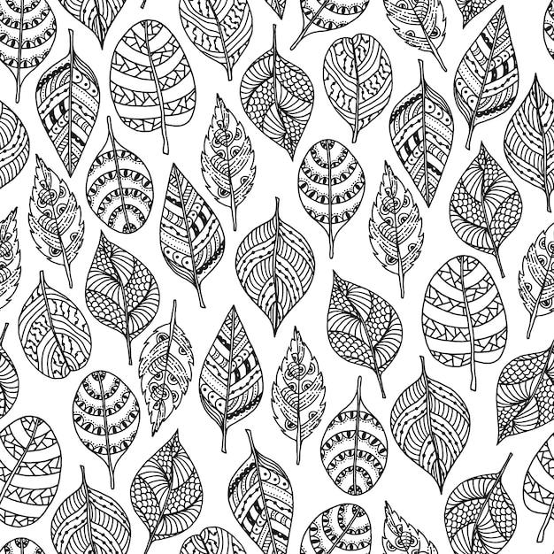 Vecteur dessiné des feuilles dans le style de doodle. motif décoratif sans couture florale. Vecteur Premium