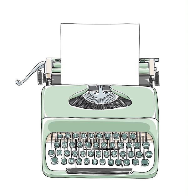 Vecteur dessiné à la main de la machine à écrire vintage vert menthe Vecteur Premium