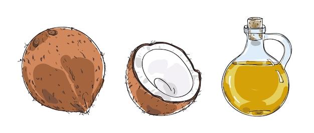 Vecteur de dessinés à la main huile de noix de coco et noix de coco Vecteur Premium