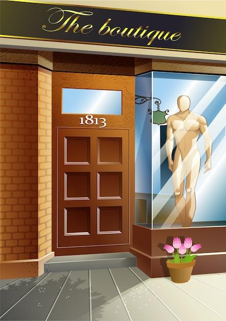 Vecteur devant le magasin de robe. Vecteur Premium