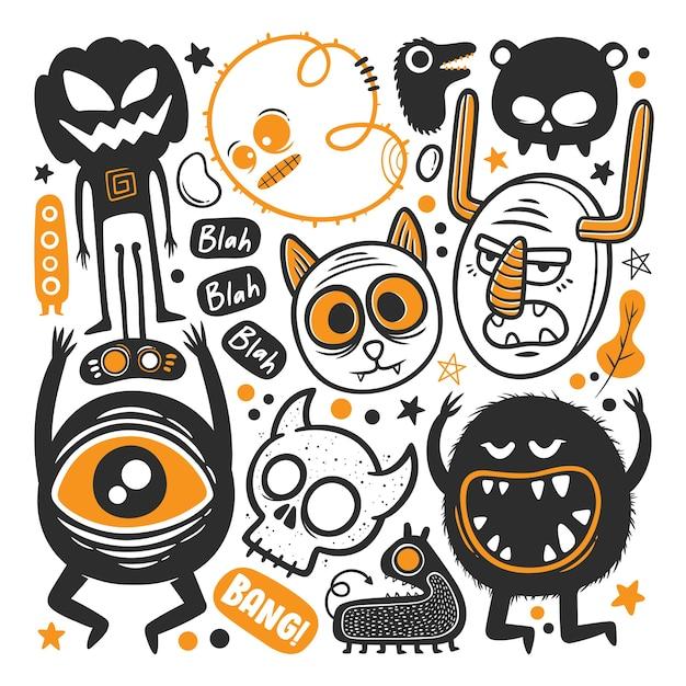 Vecteur De Doodle Dessiné Main Monstre Drôle Vecteur gratuit