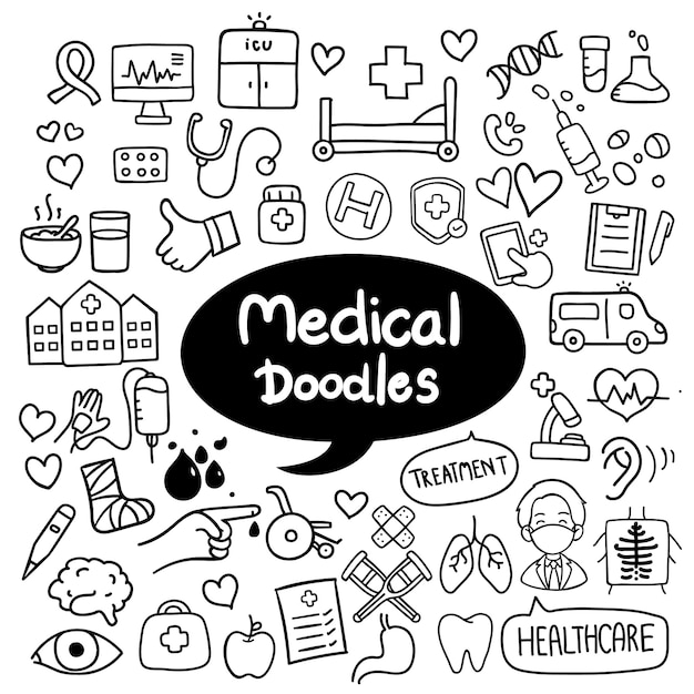 Vecteur de doodles dessinés à la main médicale et des soins de santé Vecteur Premium