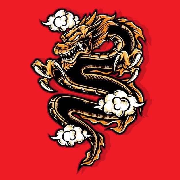 Vecteur de dragon d'or Vecteur Premium