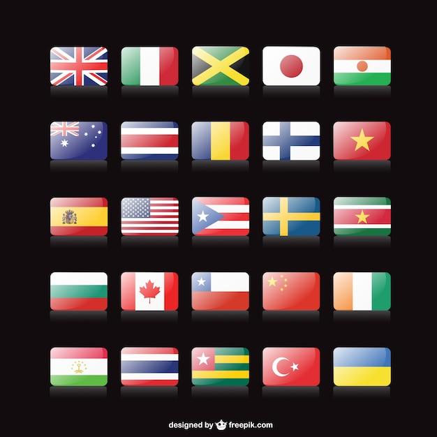 Vecteur drapeaux gratuits collection Vecteur gratuit